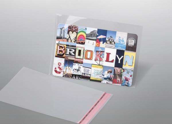 Taschen aus OPP, Hüllenformat 90 x 152 + 25 mm Klappe, 84 x 148 Inhalte