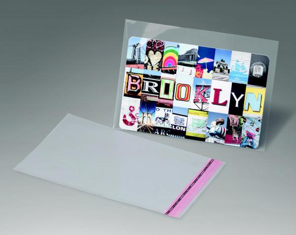 Taschen aus OPP, Hüllenformat 118 x 165 + 25 mm Klappe, 114 x 162 Inhalte