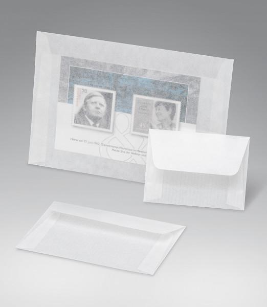 Kuverts aus Pergamin, 80 x 58 + 35 mm Klappe