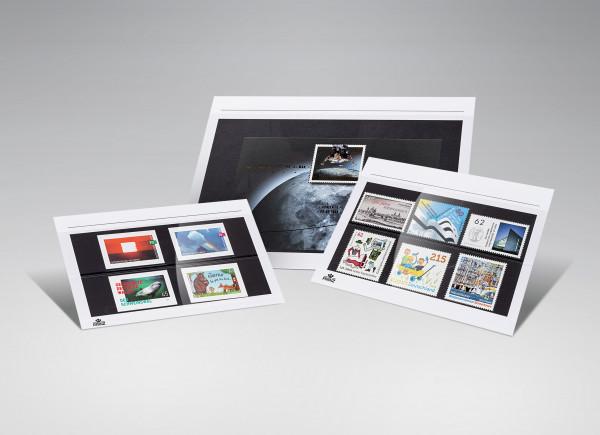 Premium Steckkarten, weiß mit Druck, 2 Polyesterstreifen, 210 x 148 mm, 50 Stück